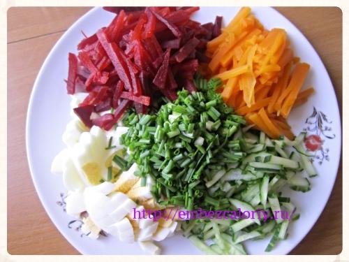 ингредиенты, кроме зелени, смешиваем