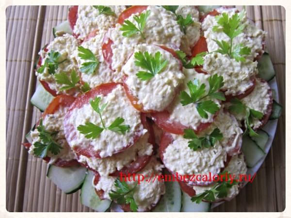 Остренькие томаты на огурчиках
