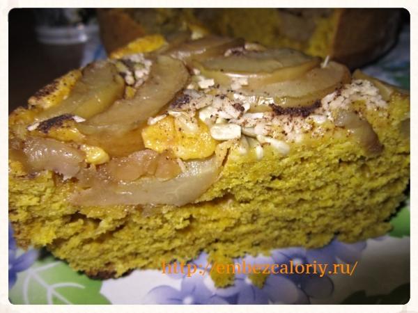 Тыквенный кекс с яблоками, семечками и кокосом
