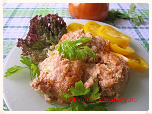 Картофель под томатно – сырным соусом