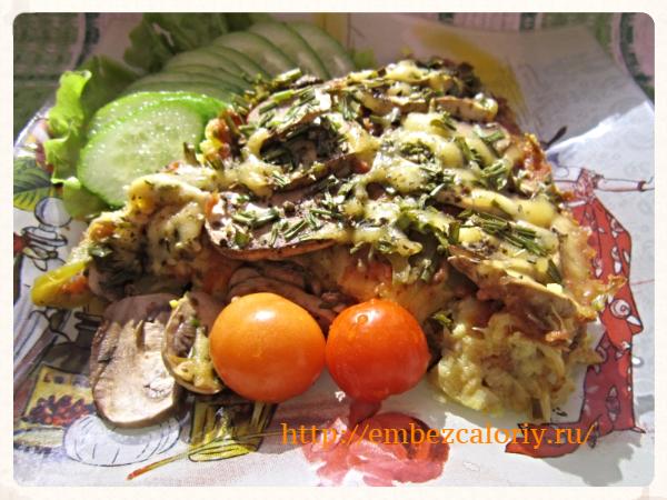 Цветная капуста с грибами в духовке