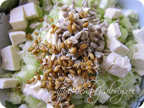 Проросшие зёрна пшеницы и ядра семян подсолнуха