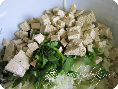 Тофу, нарезанное кубиками