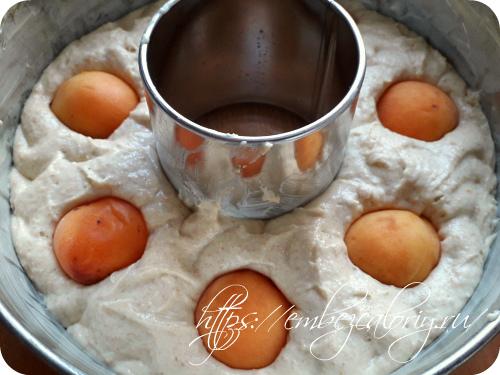Сверху укладываем половинки абрикосов